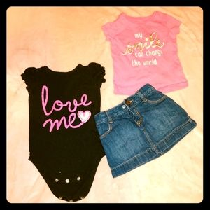 love me onesie shirt and a Jean skirt